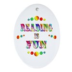 Reading is Fun Ornament (Oval)