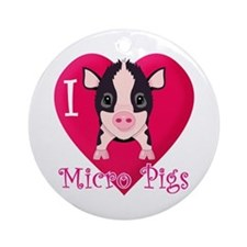 I Love Micro Pigs Ornament (Round)