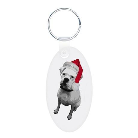 Boxer Dog Aluminum Oval Keychain