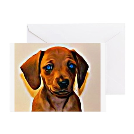 Painted Doxie Greeting Card