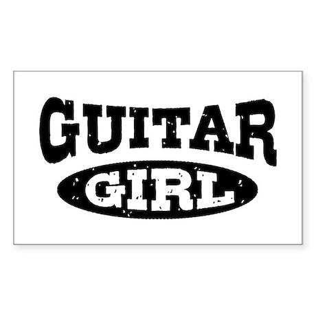 Guitar Girl Sticker (Rectangle)