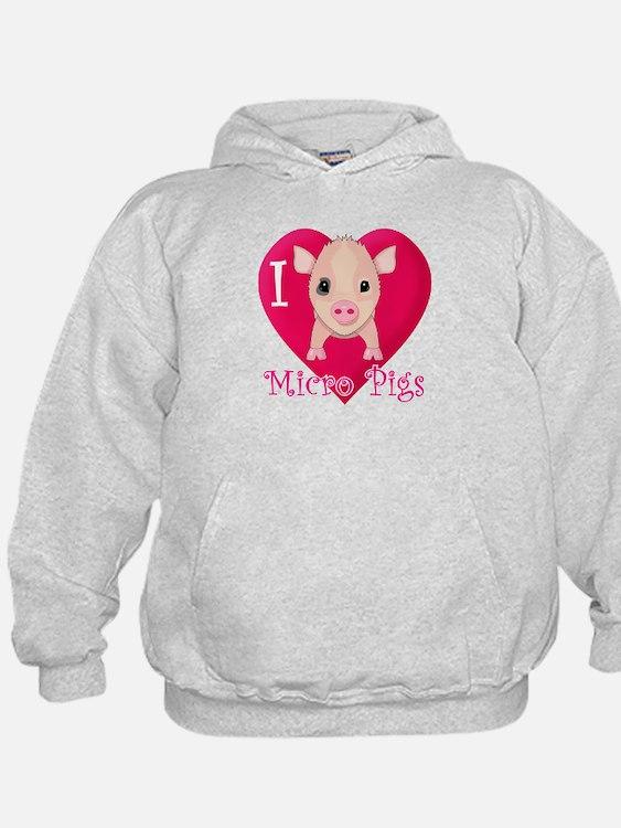 I Love Micro Pigs Hoodie