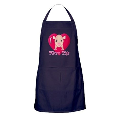 I Love Micro Pigs Apron (dark)