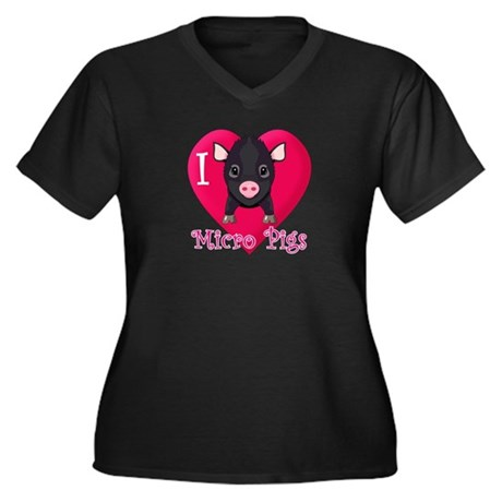 I Love Micro Pigs Women's Plus Size V-Neck Dark T-