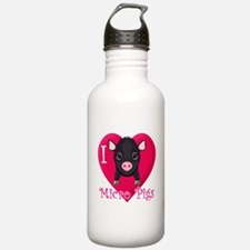 I Love Micro Pigs Water Bottle