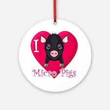I Love Micro Pigs Ornament (Round)
