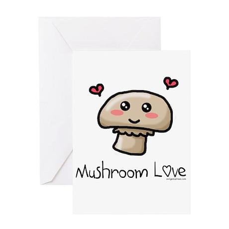 Mushroom love vegetarian Greeting Card