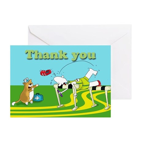 funny hurdle thank you Greeting Cards (Pk of 10)