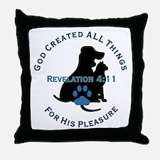 God Loves Animals Throw Pillow