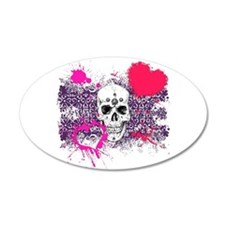 Biker Girl Pink Hearts and Skulls 22x14 Oval Wall