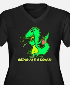 Bring Me A Donut Women's Plus Size V-Neck Dark T-S