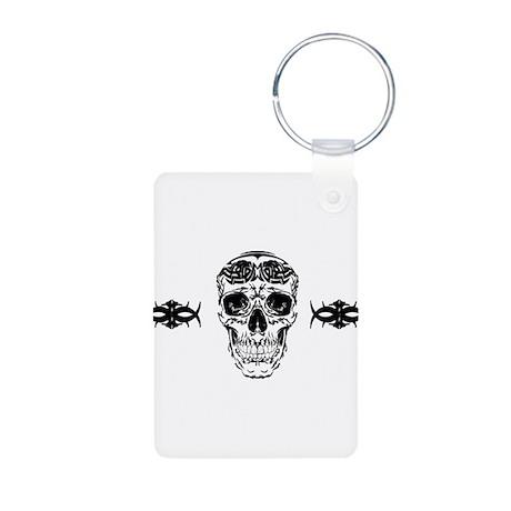 Tribal Skull Aluminum Photo Keychain