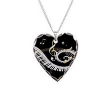 Personalized Piano Musical gi Necklace Heart Charm