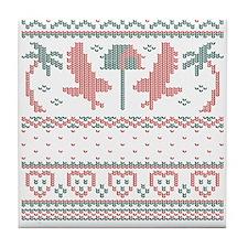 Howliday Sweater Tile Coaster