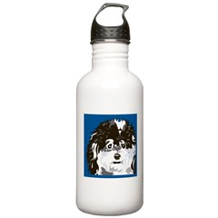 BLACK WHITE BLUE POODLE Water Bottle