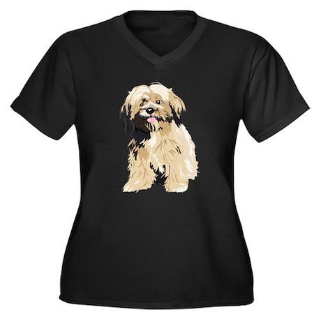 LLasa Apso Women's Plus Size V-Neck Dark T-Shirt
