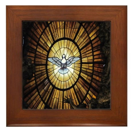 Stained Glass Dove Framed Tile