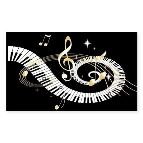 designer Musical notes Sticker (Rectangle)