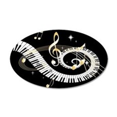 designer Musical notes 22x14 Oval Wall Peel