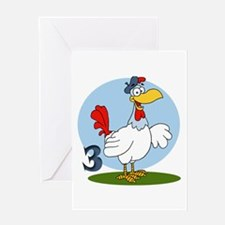Three French Hens Greeting Card