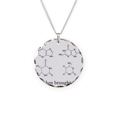 God Created DNA Necklace Circle Charm