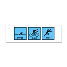Swim Bike Run Car Magnet 10 x 3