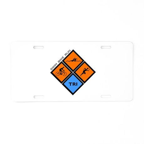 Tri Diamond Aluminum License Plate