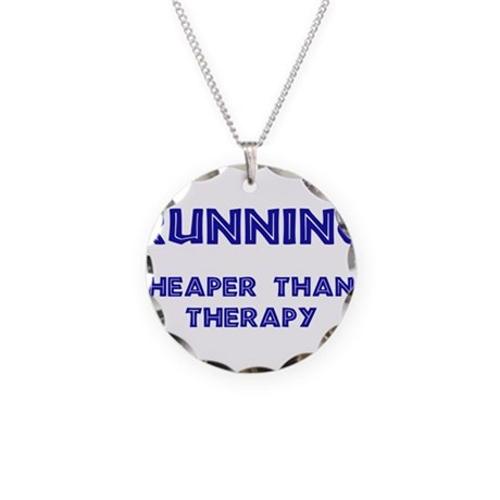 Running: Cheaper than therapy Necklace Circle Char