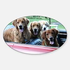 Golden Retriever Summer Drive Sticker (Oval)