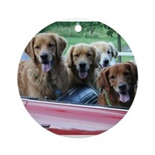 Golden Retriever Summer Drive Ornament (Round)