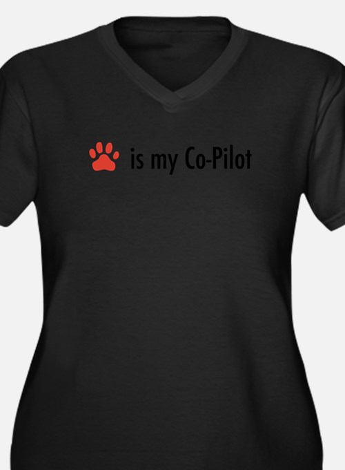 Dog is my Co-Pilot Women's Plus Size V-Neck Dark T
