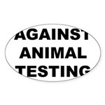 Against Animal Testing Sticker (Oval)