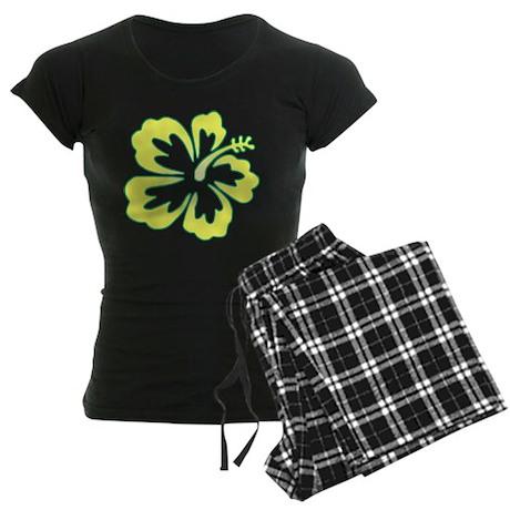 Surf Flowers (Yellow and Gree Women's Dark Pajamas