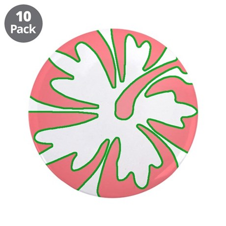 "Surf Flowers (Pink and Green) 3.5"" Button (10"