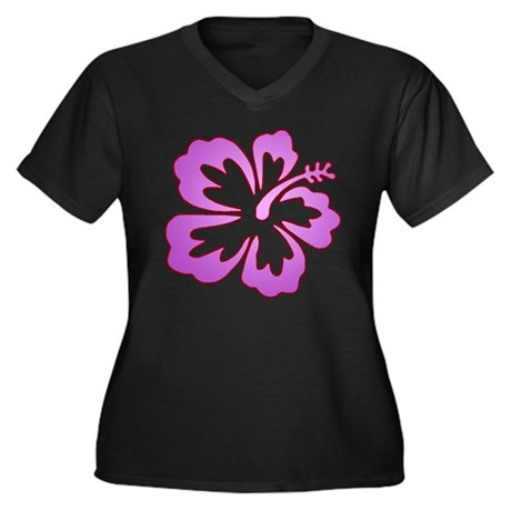 Surf Flowers (Purple with Red Women's Plus Size V-