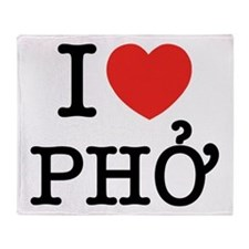 I Love (Heart) Pho Throw Blanket