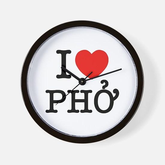 I Love (Heart) Pho Wall Clock