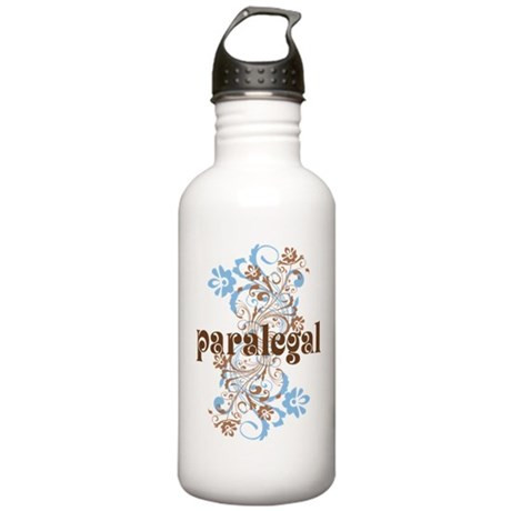 Paralegal Gift Floral Swirl Stainless Water Bottle