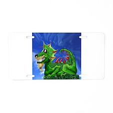 Grinning Green Dragon Aluminum License Plate