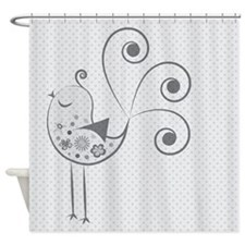 Birdy Birdy Gray Shower Curtain
