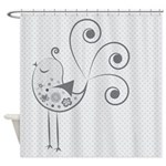Birdy Birdy Gray Shower Curtain
