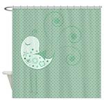 Birdy Birdy Green Shower Curtain