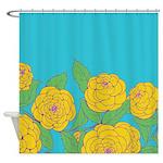 Bold Bloom Blue Shower Curtain