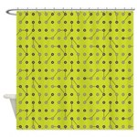 Lime Eggplant Circuitry Shower Curtain