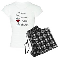 Christmas wine pajamas