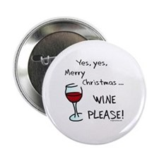 """Christmas wine 2.25"""" Button (10 pack)"""