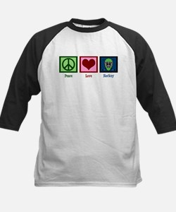 Peace Love Hockey Kids Baseball Jersey