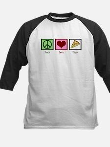 Peace Love Pizza Kids Baseball Jersey