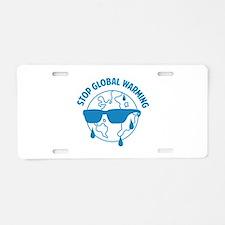 Stop Global Warming Aluminum License Plate