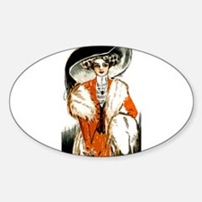 Pretty Lady Design Sticker (Oval)